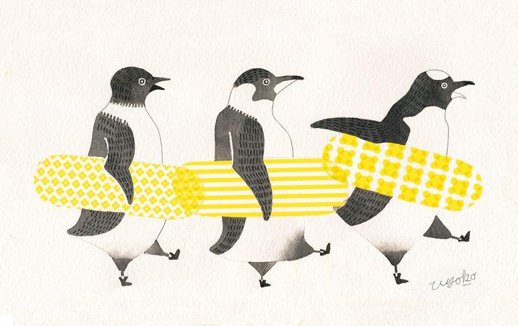 Surfing Penguins yoko hishida illustration