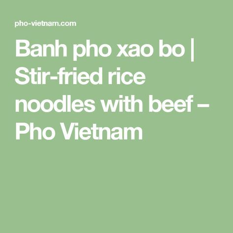 Banh pho xao bo | Stir-fried rice noodles with beef – Pho Vietnam