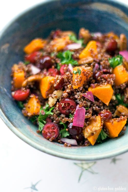 Red quinoa with butternut squash and fresh cranberries #MeatlessMonday #GlutenFree