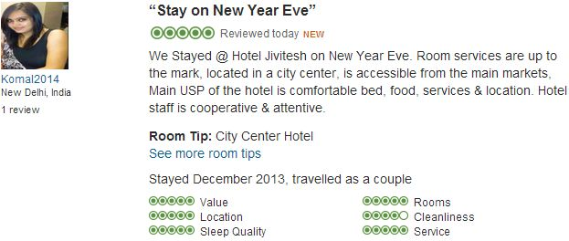 #jivitesh:Ms. Komal from India who stayed in our hotel from 31st December 2013 to 01st January 2014 reviewed our Hotel with Excellent Rating on Tripadvisor.com.