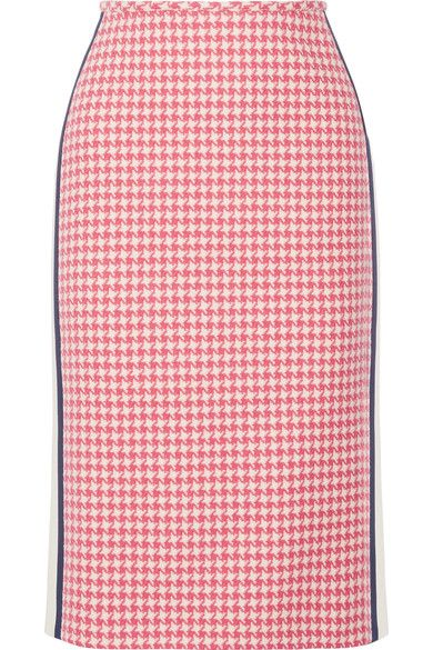 Pink and white wool, midnight-blue and cream wool and silk-blend Concealed hook and zip fastening at side 100% wool; trim: 77% wool, 23% silk; lining: 100% viscose Dry clean Made in Italy