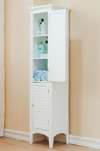 8 Ways To Make A Small Space Feel Huge  http://www.refinery29.com/60678#slide8  Tip #8 Even the tiniest bathroom can feel spacious and clean when the clutter is hidden away. This tall, slim storage cabinet keeps all your grooming goodies, fresh towels, and hair tools out of sight (and free from dust) without taking up too much room. Think of it like a mini portal into your own personal spa. Bayfield White 2-Door Linen Tower, $164.99, available at Overstock.