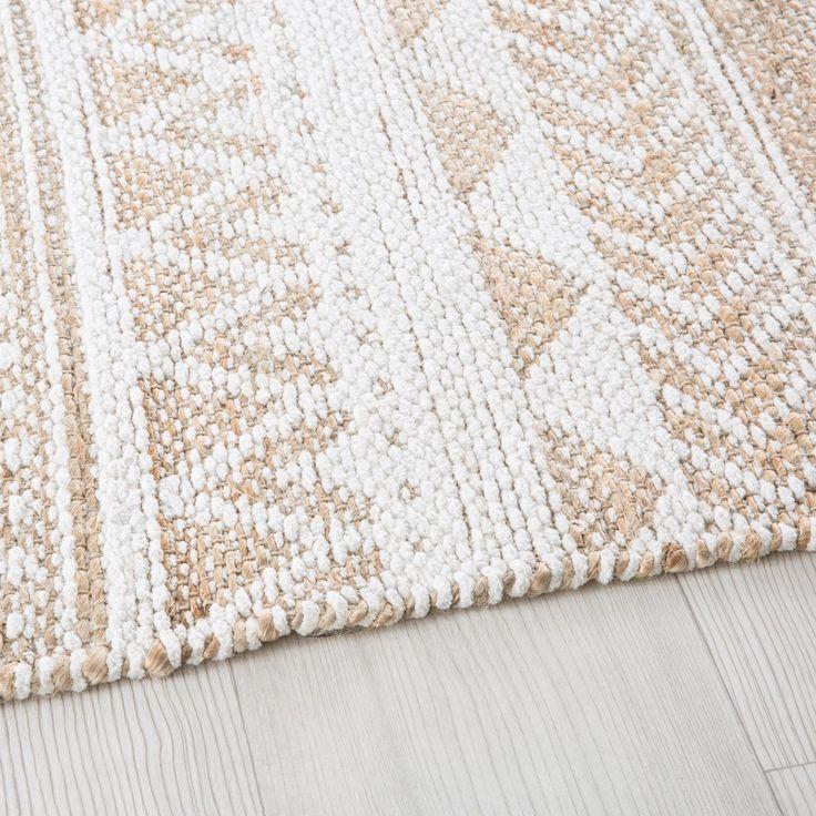 Teppich aus Jute und Baumwolle mit grafischen Motiven 140×200