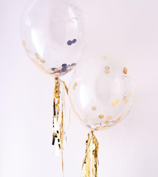 Transparante confetti ballonnen!  #goud #feest #oudnieuw