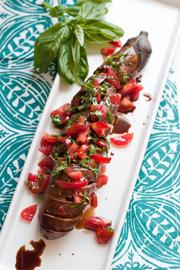 Spicy Garlic Hasselback Eggplant with Tomato-Basil Relish