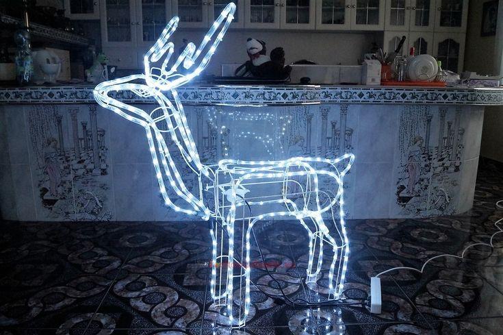 Renifer LED 3D zimnobiały duży kręci głową 125cm | sklep kochamzabawki.eu