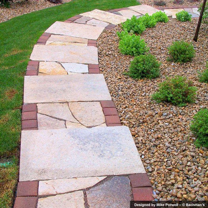 Maroon Garden Ideas: Limestone Slab Steps With Irregular Limestone Treads And