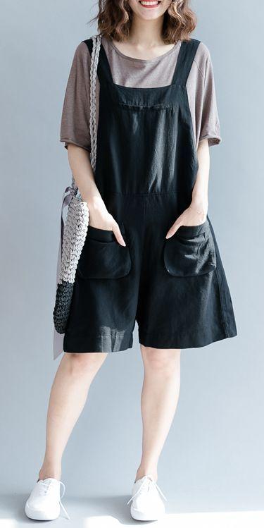 CASUAL BLACK SHORT COTTON LINEN OVERALLS WOMEN LOOSE PANTS K9072