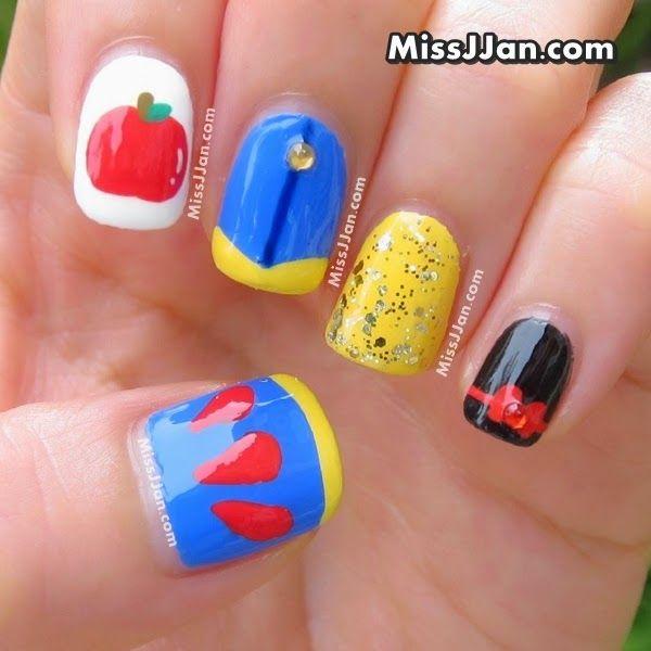 Tutorial+-+Walt+Disney+-+Snow+White+Princess+-+Inspired+Nail+Art+Manicure+Nails+-+Blog+02.jpg (600×600)