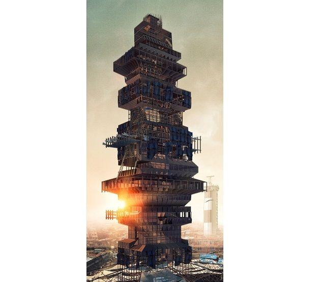 Concours eVolo 2015 : les gratte-ciel du futur ! Deuxième place : Shanty-Scaper de Suraksha Bhatla et Sharan Sundar Le projet des architectes indiens, Suraksha Bhatla et Sharan Sundar, est destiné à doter les habitants des bidonvilles de Chennai d'habitations, et d'espaces de travail et de divertissement. Le gratte-ciel est conçu pour réutiliser des matériaux post-contruction, tels que des débris de conduits, de la tôle ondulée ou du bois de construction.
