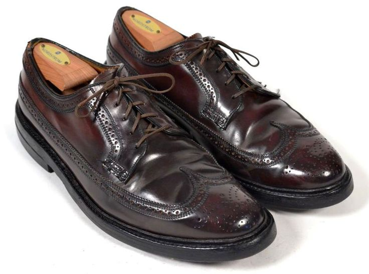 FLORSHEIM IMPERIAL Maroon SHELL CORDOVAN Longwing Mens Dress Shoes US 9 D #Florsheim #WingTip