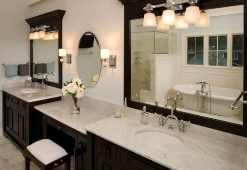 Huge double sink vanity with makeup table new house for Bathroom designs with dressing area