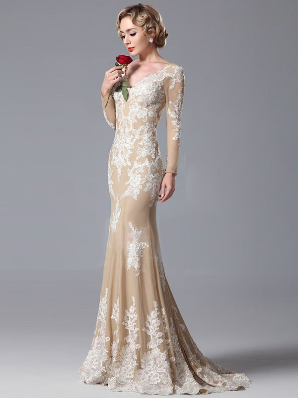 White long sleeve evening dress 28027