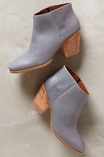 Grey short heel booties