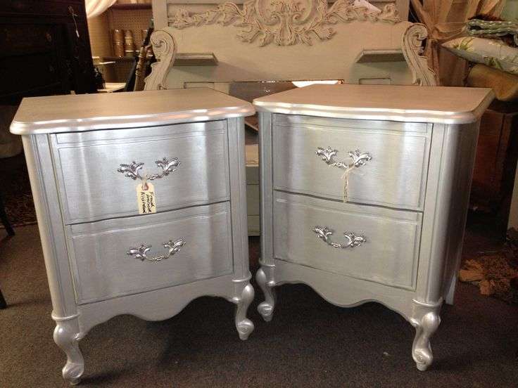 French provincial nightstand pair in a metallic finish. https://www.facebook.com/jodiecurtaincall