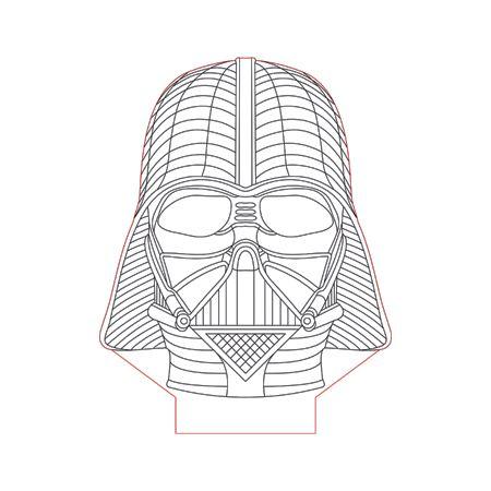 Darth Vader Helmet Face 3d Illusion Lamp Plan Vector File Op