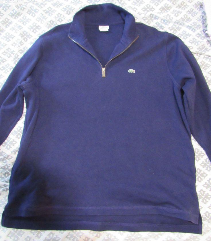 Lascoste Sweatshirt Mens XXXL Navy Blue Cotton Pockets EUC #Lacoste #14ZipPulloverSweatshirt