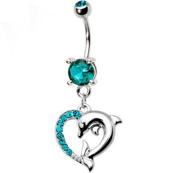Blue Zircon Cubic Zirconia Heart Dolphin Belly Ring #BodyCandy #Bellyring #Trending