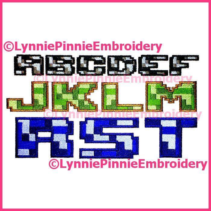 Pixel Block Multicolor Embroidery Font -- 3 Sizes