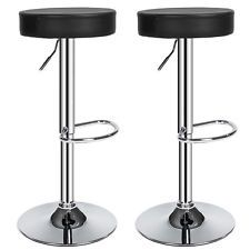 2 Bar stools set faux leather kitchen breakfast stool dining chair round black
