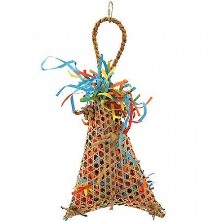 Versnipper speelgoed voor uw papegaai. Er kunnen eventueel snoepjes of andere lekkernij toegevoegd worden voor meer speelplezier.