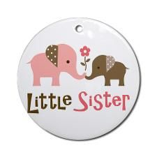 Little Sister - Mod Elephant Ornament (Round)