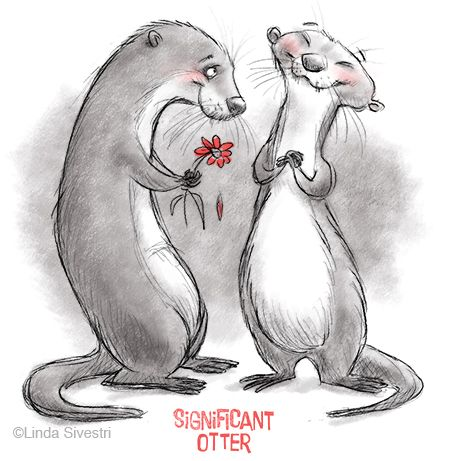 real cute couple of otters by Linda Silvestri