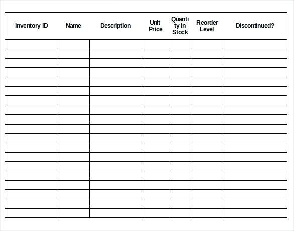 Inventory Control Forms Template Stock List Kitchen Pictureduck