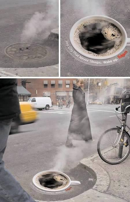 Creative use of the manhole. Classic piece of guerrilla advertising that goes into the advertising history books! Francis