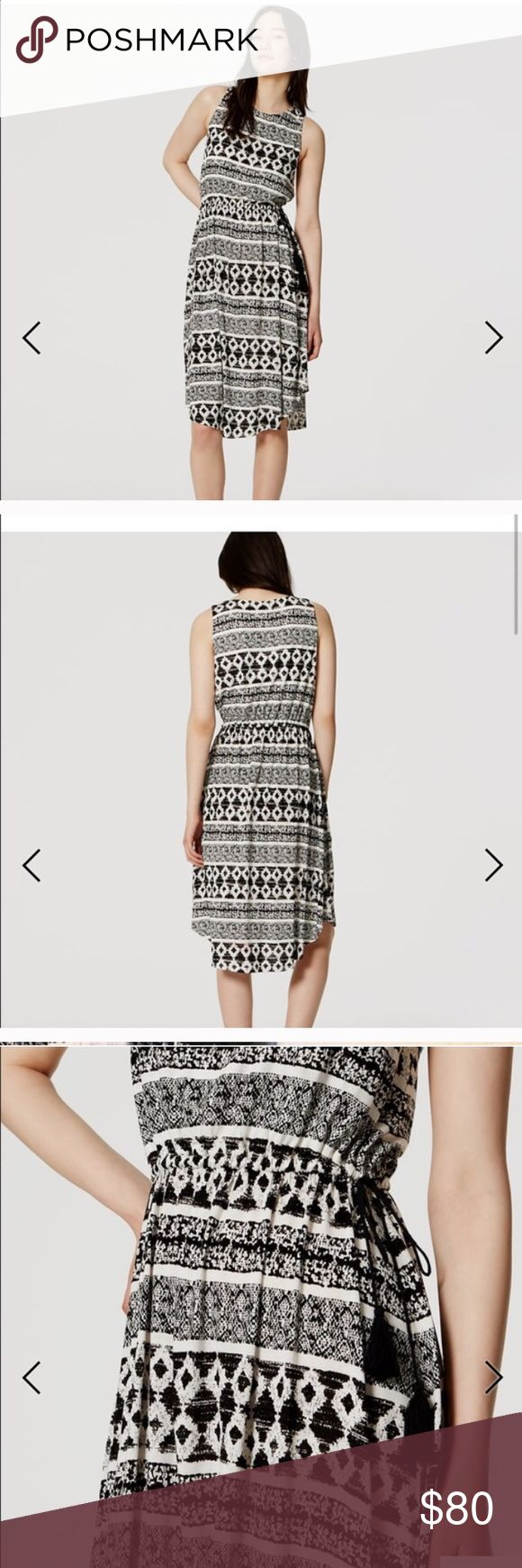 NWT Loft midi print tasseled dress Black and white soft and flowy midi length dress from Ann Taylor Loft. Tribal boho graphic striped print. Partially lined. Elastic waist with drawstring tassels. Sleeveless. Scoopneck. Curved hem. Size small petite. Rayon. New with tags. LOFT Dresses Midi