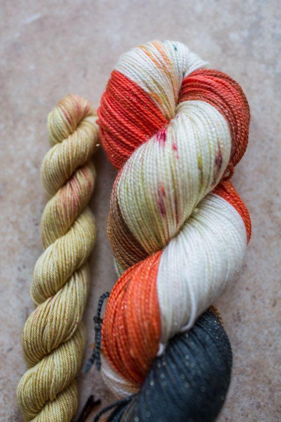 FOX HOLE + YELLOW | Gold Sock (Superwash Merino/Nylon/Gold Stellina)  | Hand Dyed Sock Yarn