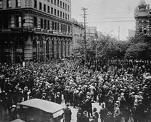 Crowd gathered outside old City Hall during the Winnipeg General Strike, June 21, 1919. 30,000 workers leave jobs