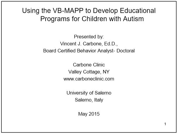 A great overview of the VB-MAPP. Free PDF download of the presentation.