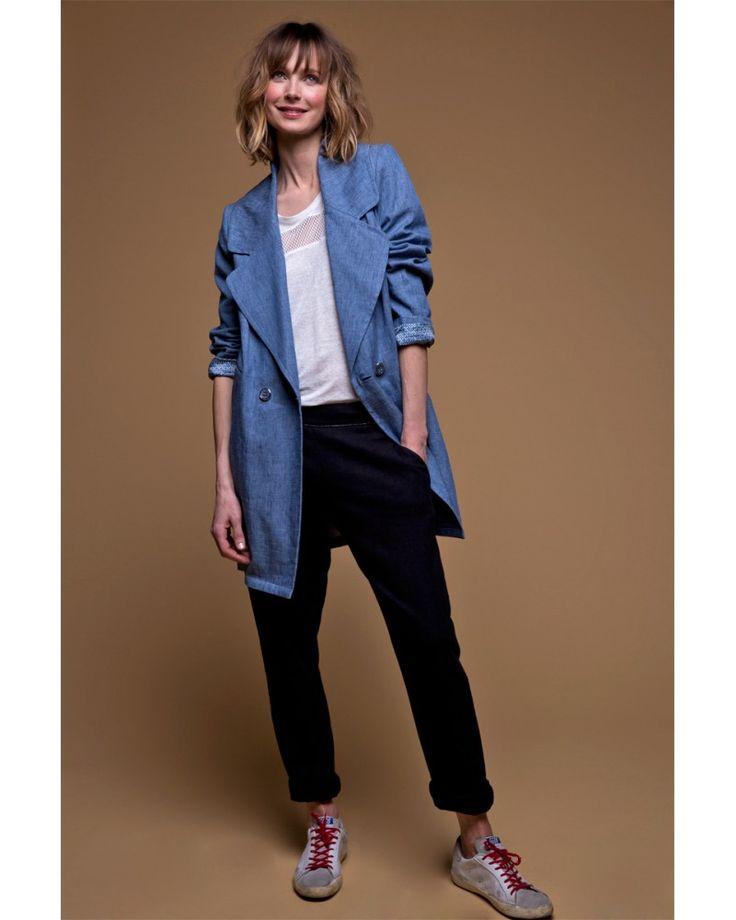 le manteau d 39 t effet jean pour un look casual tendance. Black Bedroom Furniture Sets. Home Design Ideas