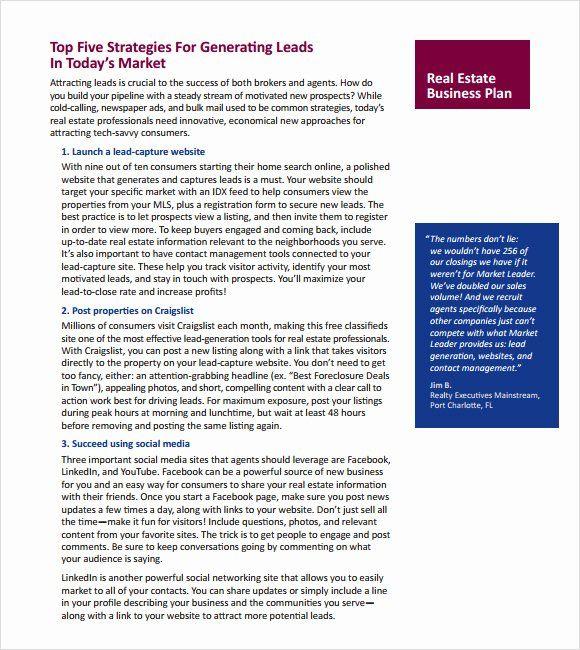 Real Estate Marketing Plan Template Fresh Real Estate Business