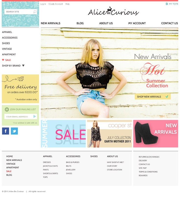 Layout proposal for an Australian online fashion store. Clear layout, with large images and minimal accents. The site is online at: http://www.alicebecurious.com/