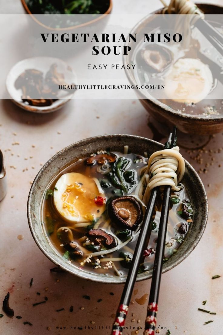 "Ready to get back to the ""good old habits"" after the holidays? Try this vegetarian miso soup with eggs, shiitake and a d…"