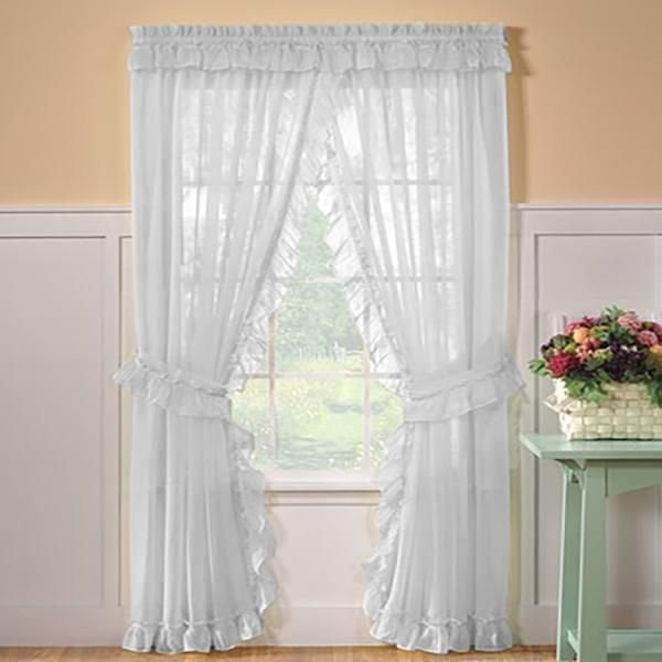 Sheer Priscilla Panel Pair With Attached Valance Colorful