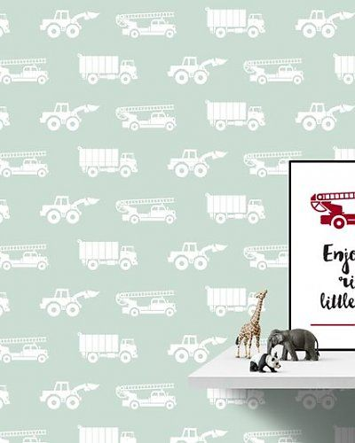 Behang auto's met brandweer groen | Wallpaper cars boysroom |  Designed by Tinkle&Cherry | www.tinklecherry.nl