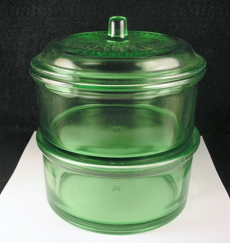 Hazel Atlas Green Depression Vaseline Glass Stackable Storage Container W Lid Kitchen