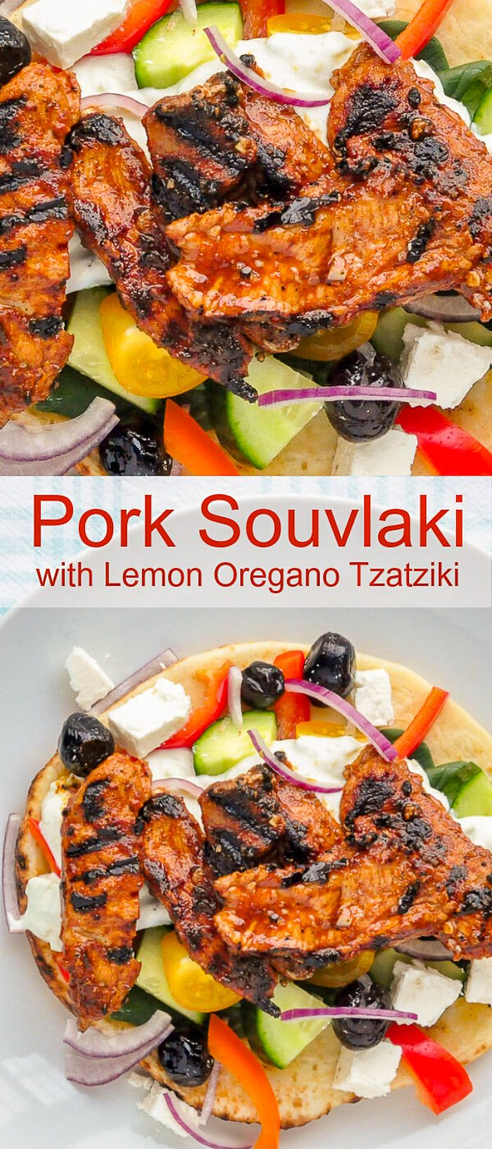 Pork Souvlaki with Lemon Oregano Tzatziki. With marinated pork strips that cook in only about 2 minutes, this is a delicious super-fastway to enjoy a souvlaki dinner at any time of the year.