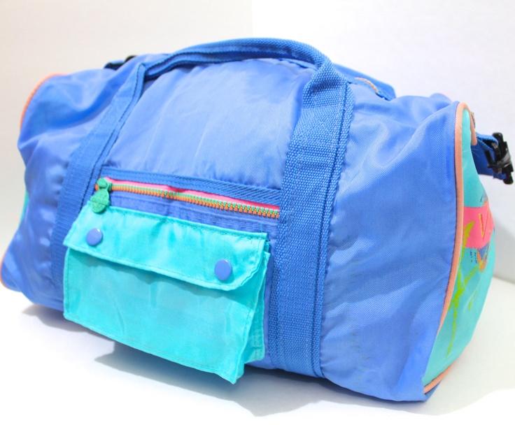 Vintage Retro Neon Pink Neon Sports Duffle Bag.