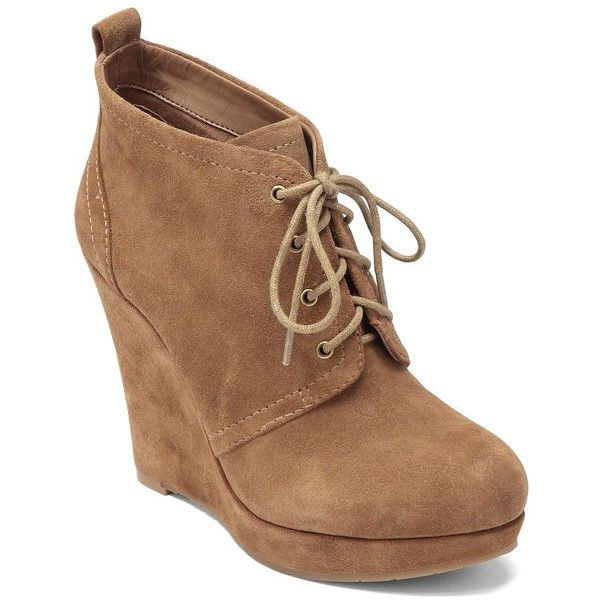 JESSICA SIMPSON Catcher Suede Wedge Booties (£36) ❤ liked on Polyvore featuring shoes, boots, ankle booties, heels, wedges, brown, wedge heel boots, wedge booties, brown lace up boots and suede booties
