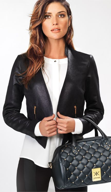 Tux Jacket $89 br White Blouse $55 br Barrel Bag $79 - From the Kardashian Kollection at Dorothy Perkins