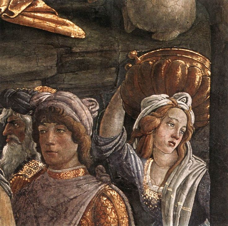 The Trials and Calling of Moses detail by Sandro Botticelli, 1481-1482