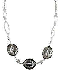 """18"""" + EXT Matte Silver Black Diamond Glass Necklace Retail - $29.50 You Pay - $14.75 w/ free shipping in the US."""