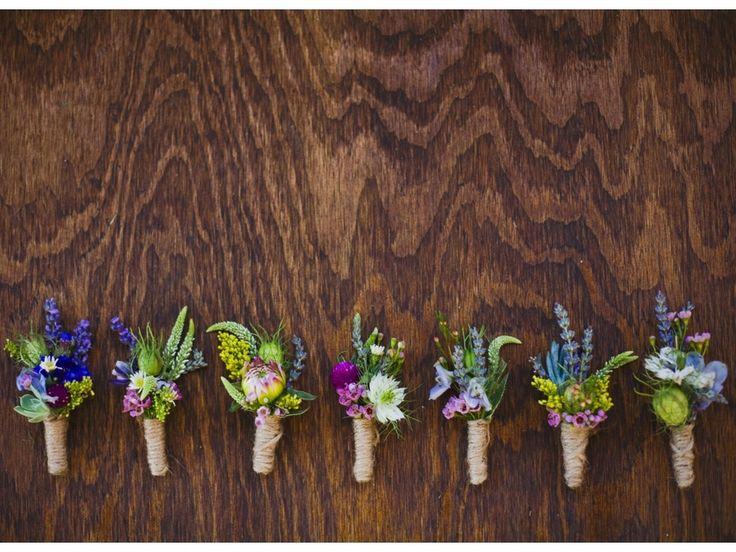 wildflower inspired twine wrap boutonnieres utah wedding flowers calie rose www.calierose.com