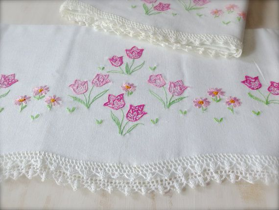 Vintage White Pillowcase Set with Embroidered by MissionJewels, $26.00