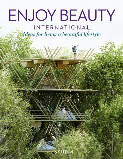 Enjoy Beauty International magazine covers; Living in the Trees – Spiritual Nomads – Costa Rica Spas and Retreats – Think Tank in Bali – Sell Everything and Travel the World – Bike Ride through Burma