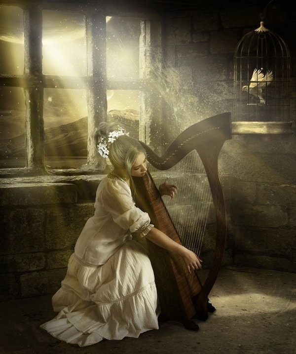 HarP: Window, Music Instruments, Fantasy Art, Songs, Photo Manipulation, Digital Art, Elena Migliore, Plays, Young Girls